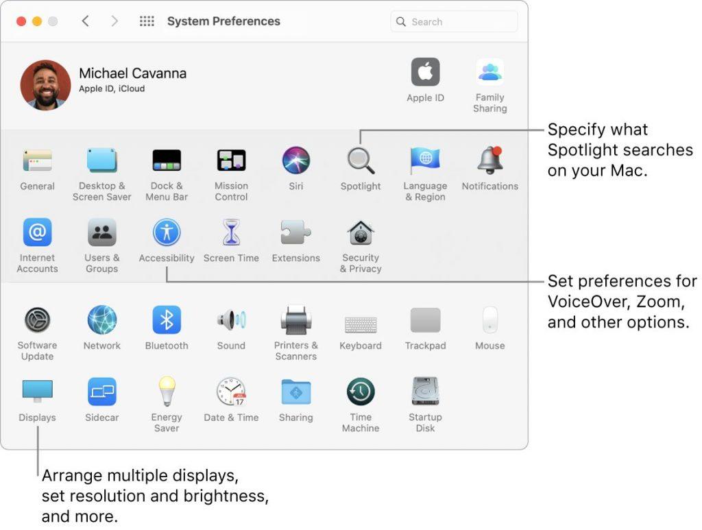 Preferences of Mac